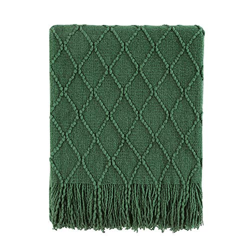 """BOURINA Green Throw Blanket Textured Solid Soft Sofa Couch Decorative Knitted Blanket, 50"""" x 60"""" Green"""