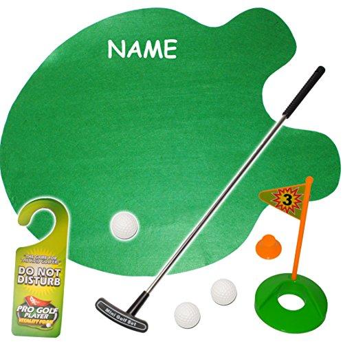 alles-meine.de GmbH XL Set -  Bürogolf & Tischgolf - Golf Spiel mit Schläger & Golfball  - inkl. Name - Minigolf / Vorleger - Bürogolfset - Golfspieler / Mini Golfspiel - Putti..