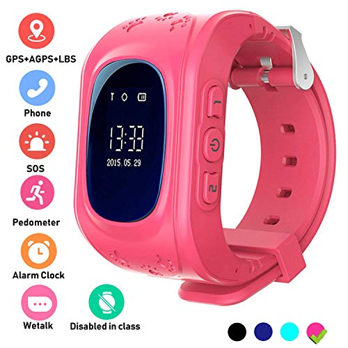 Hangang GPS Tracker Children Safe Smartwatch SOS Calls Location of Locator Finder Locator for Children Anti Lost Baby Monitor Are Wristwatch red