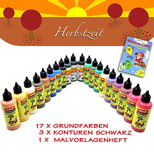 Play malmit® Window Color Herbst Set 20 Fenstermalfarben Fensterfarben Malfarben Fensterbild
