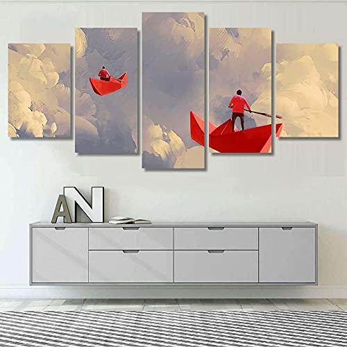 Impresión Artística Imagen Gráfica-5 Piezas-Impresión en Lienzo Hombres en barcos de papel rojo origami XXL Impresión Material Tejido no Tejido Artística Imagen Gráfica Listo para Colgar