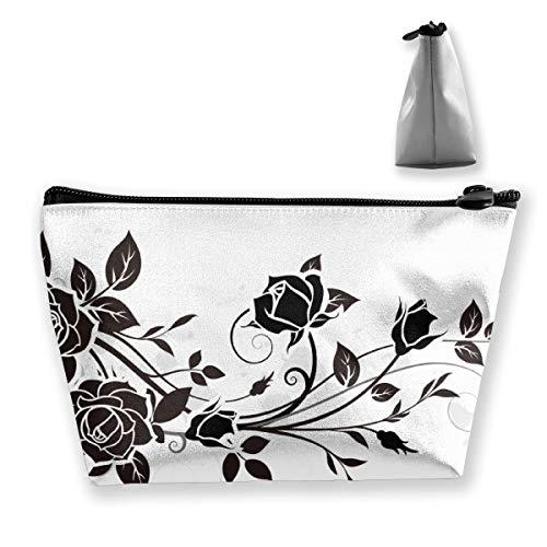 Trousse de maquillage portable pour cosmétiques Motif feuilles de rose