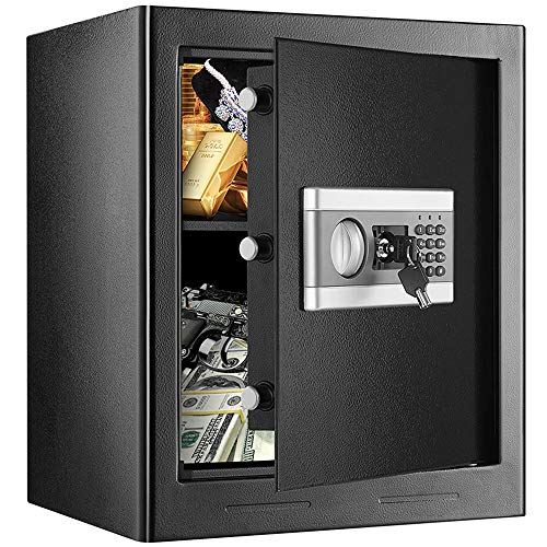 1.53Cub Security Safe Lock Box, Fireproof and Waterproof Safe Cabinet, Digital Combination Lock Safe, with Keypad LED Indicator, for Home Office Hotel Business Cash Gun Document Money Jewelry (Black)
