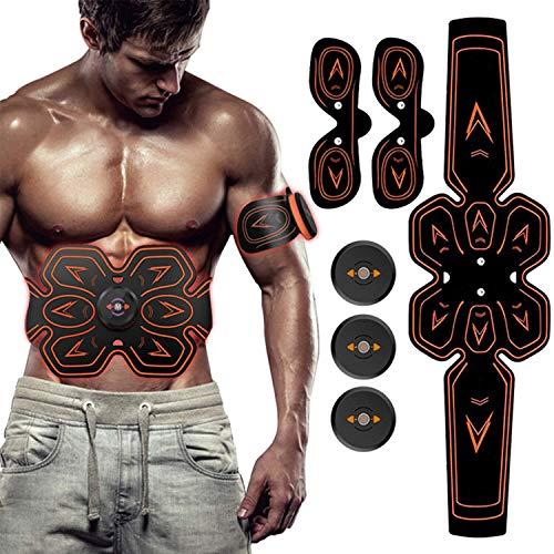 ZHENROG Electroestimulador Muscular Abdominales, Masajeador Eléctrico Cinturón, EMS Estimulador Muscular con USB, 6 Modos y 10 Niveles de Intensidad para Abdomen/Cintura/Pierna/Brazo (Negro-1)