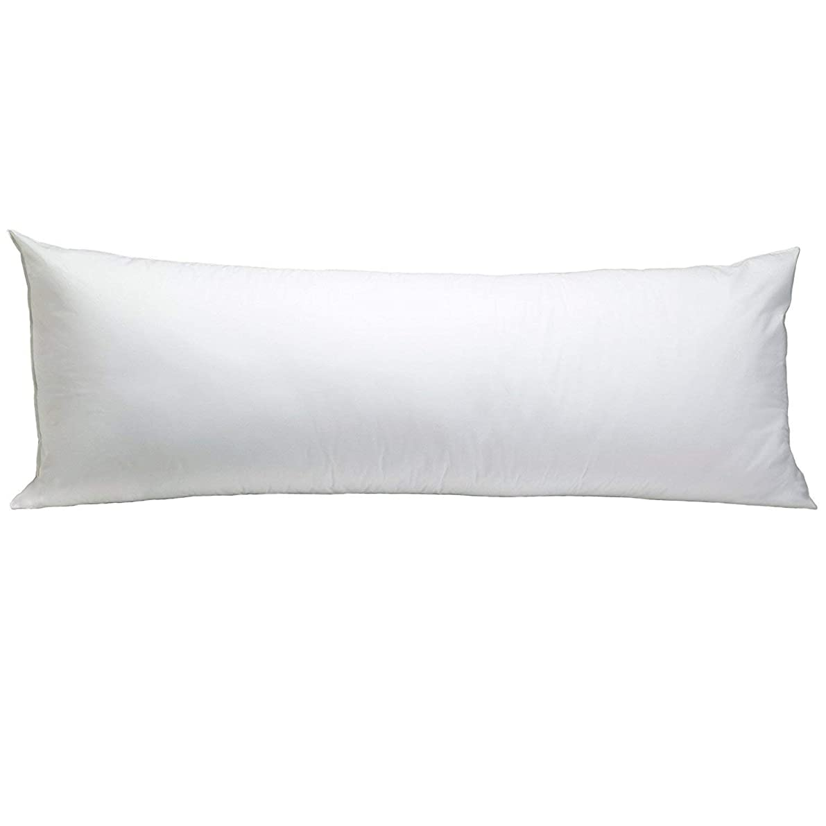 SC-Collection Body Pillowcase 21x60 Set of 1 Body Pillow Cases Zipper Closer 500 Thread Count Quality Body Pillow Pillowcases White Solid with 100% Egyptian Cotton
