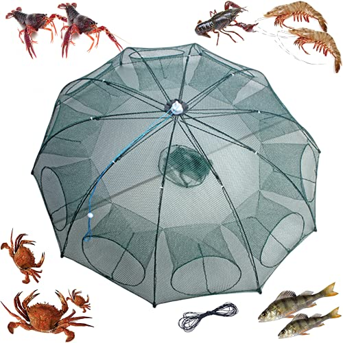 mlnyitus 2 pcs Foldable Fishing Bait Trap, 10 Holes net Crab Fish Trap for Outdoor catching Small Bait Fish Crawfish Automatic, eels Crab Lobster Minnows Shrimp