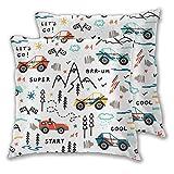 Fundas de cojín, Juego de 2, Toy Racing Cars Doodle Buggy Car y HighlandDecorative Square Cojín Funda para sofá Sofá Dormitorio Coche 16 'x 16' in