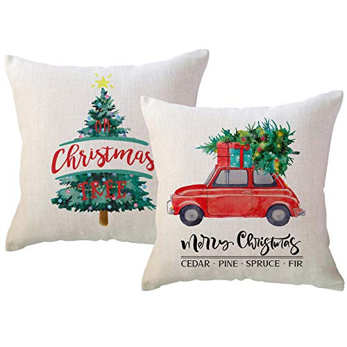 ULOVE LOVE YOURSELF Merry Christmas Decorative Throw Pillowcase 18x18 Inches with Christmas Tree and Red Truck Winter Holiday Pillow Covers Farmhouse Cushion Case for Sofa Couch Set of 2