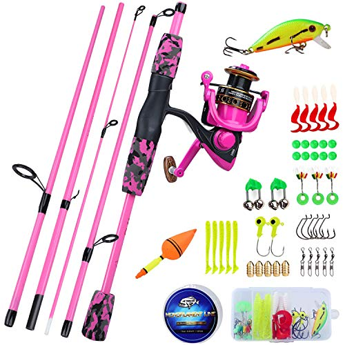 YONGZHI Spinning Fishing Rod,5-Piece Portable Fishing Pole and Reel Combo for Boys,Girls and Adults