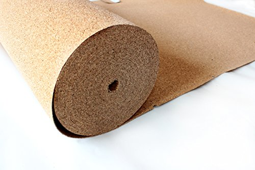 Rollenkork 2 mm Stärke, 30qm (30 x 1m) / Dämmunterlage/unter schwimmend verlegten Parkett-, Laminat-, und Teppichböden/wärmedämmende Wanduntertapete/erhöht den Gehkomfort