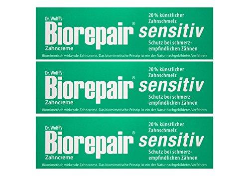 3x Biorepair Zahncreme sensitiv mit Hydroxylapatit 75 ml Ohne Fluorid