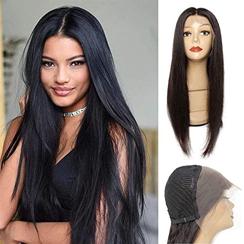 Pelucas frontales de encaje del cabello humano recto Pelucas de cierre de cordones de pelo virgen brasileño para mujeres negras 150% densidad pre arrollada con cabello bebé pelucas de cabello natural
