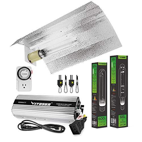 VIVOSUN Hydroponic 600 Watt HPS MH Grow Light Wing Reflector Kit - Easy to Set up, High Stability & Compatibility (Enhanced Version)