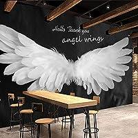 カスタム壁画壁紙家の装飾3Dロマンチックな手描きの天使の羽レトロノスタルジックなホテルレストランバーの装飾の壁紙, 350cm×245cm