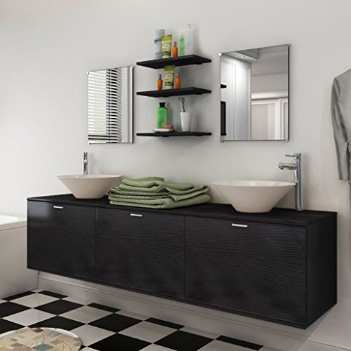 Tidyard- 10-TLG. Badmöbel-Set Badezimmermöbel mit Waschbecken und Wasserhahn