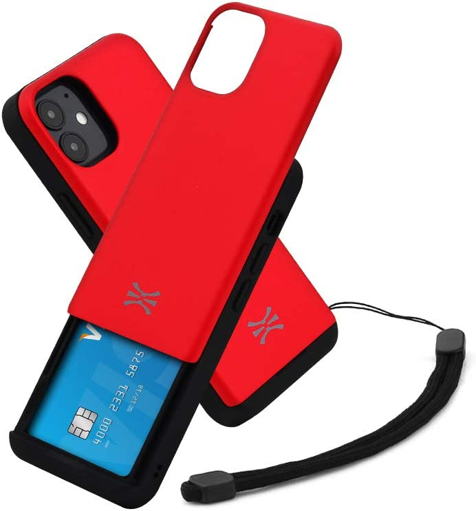 TORU CX Slide Compatible with iPhone 12 Mini Card Case - Protective TPU Bumper & Hard Cover Dual Layer Slim Hidden Card Holder Slot Wallet with Wrist Strap - Red