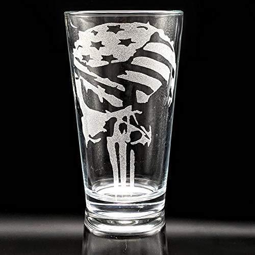 THE PUNISHER FLAG SKULL Engraved Pint Glass | Inspired by Marvel Comics