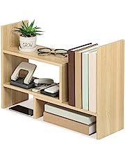 U-HOOME Bamboo Desk Storage Organizer, Desktop Display Shelf Rack, Multipurpose Bookshelf, Expandable Desktop Stand Bookcase, Office Storage Rack - Free Style Displa Natural Stand Shelf