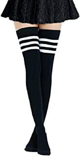CHOUYOUAGAIN High socks, Extra Long Cotton Stripe Thigh High Socks Over the Knee High Plus Size Stockings Stripes Sports F...