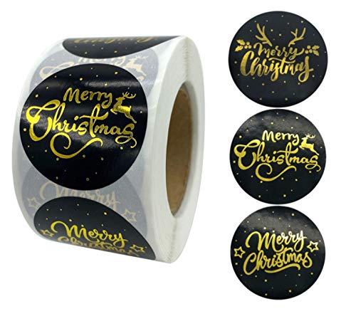 OOK - 500 etiquetas adhesivas de 3 diseños redondos, pegatinas de Navidad, pegatinas de Navidad, para caja de regalo, paquete de sobres, etiquetas de sellos, álbumes de recortes, decoración, etc.