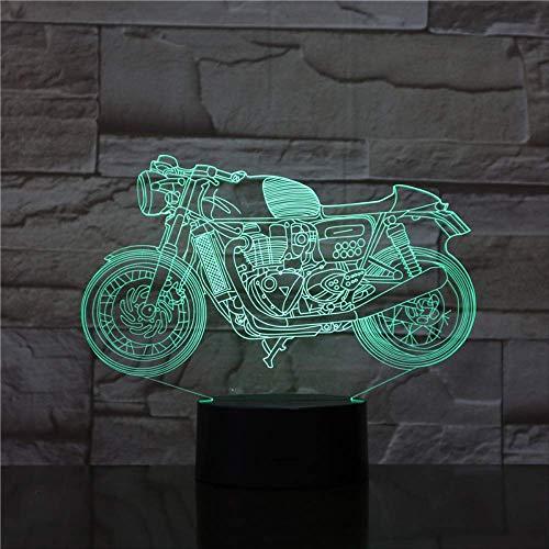 LWJZQT Nachtlampje, 3D-nachtlampje, motorfiets, LED-lamp, huisdecoratie, bedlampje, RGB, meerkleurig, touch-afstandsbediening, schakelaar, acryl, LED