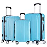 Fochier 3 Piece Expandable Spinner Luggage Set Hard Shell Lightweight Suitcase Sky Blue