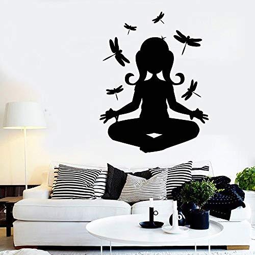 yiyitop Decalcomania del Vinile della Parete di Meditazione per Camera da Letto Yoga Buddha Dragonfly Art Stickers Wallpaper Decorazione Domestica Soggiorno Yoga 57 * 73cm