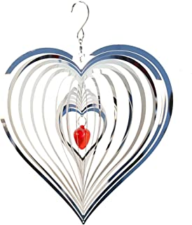 Stainless Steel Wind Chime, ELECDON 3D Dynamic Rotating Wind Chime Silver Red Heart, Garden Wind Spinner Pattern Crafts Me...
