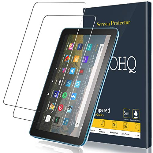 [2 Pack] QHOHQ Screen Protector for New Fire HD 8/Fire HD 8 Plus/Fire HD 8 Kids Tablet 8 Inch (10th Generation,2020 Release),Tempered Glass Film,9H Hardness-HD-No Bubbles-Anti-Fingerprint-Anti-Scratch