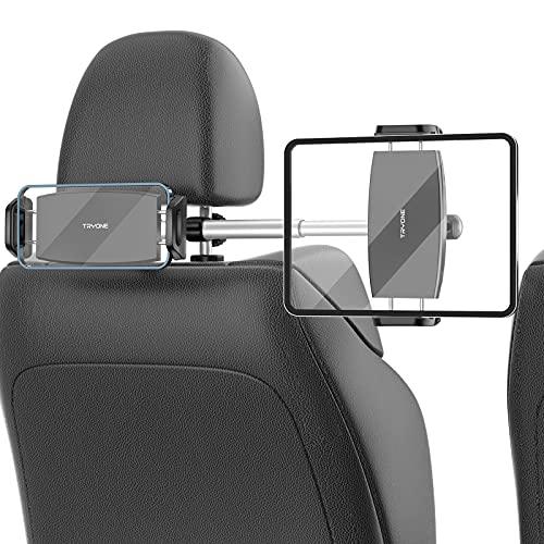 【2021改良版 ダブルグランプ&長さ調整】TRYONE タブレット ホルダー タブレット&スマホ同時に使用 99%の車種に対応 車載ホルダー ヘッドレスト ホルダー スタンド スマホ スタンド iPad スタンド 長さ調整可能 距離調整可 360度回転 簡単取付 転落防止 防振ダブルグランプ付き ヘッドレストシャフト取付範囲約24cm~43cm 後部座席用 4.7~12.9インチに対応