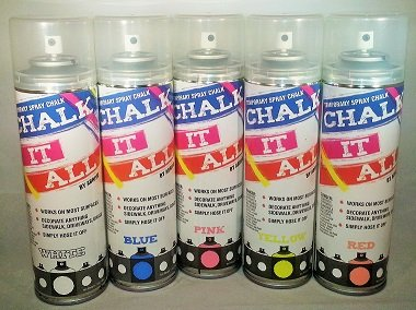 Chalk It All 5 Pack- One Each White, Yellow, Blue, Red/Orange, Pink