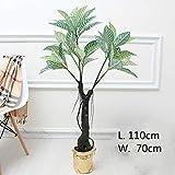 Llzpl Plantes artificielles Nordiques Riche Mangrove bonsaï décoration d'intérieur Vert Artificiel Fausses Plantes bonsaï Artificiel Arbre 1.1 m avec Pot