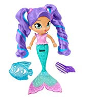Inspired by an episode where Shimmer and Shine meet a mermaid genie named Nila and find a special Mermaid Gem! Nila has color-change hair highlights in her ponytails—just use warm water to change from blue to an aquamarine color! Nila features a scul...