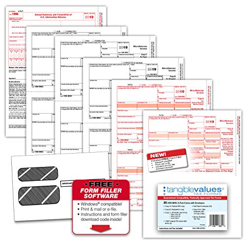 Tangible Values Business Solutions 1099 Misc Laser Tax Forms (4-Part) Kit with Env for 25 Vendors + 1096 forms, FREE form filler software, Designed for Accounting & QuickBooks Software (2019)