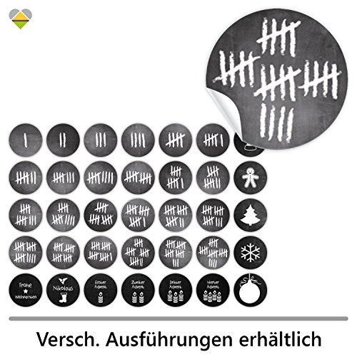 cute-head 24 Adventskalender-Zahlen + 11 Motive (Aufkleber Etiketten Sticker) | Kreidetafel (simuliert) | Strichliste/Tage zählen | Rund | S » Ø 24 mm | Schwarz | FA0077-02