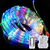 LED Guirnaldas Luces, 10M 100LED Exterior Cadena de Luces pilas con Mando a Distancia Timer de 8 Modos Impermeable IP65...