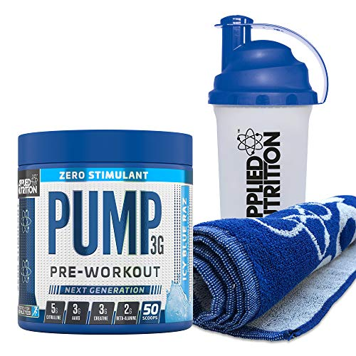 Applied Nutrition Bundle Pump 3G Zero Stimulant Pre Workout 375g + Gym Towel + 700 ml Protein Shaker | Performance with Creatine, AAKG, Citrulline, Beta Alanine, Theanine (ICY Blue Raz)