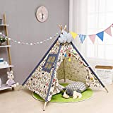 Etopar Kids Teepee Tent Solid Color Cotton Canvas Baby Toddler Play Tents with Carry Bag Indoor & Outdoor Use, 160CM/Vintage Pattern 2