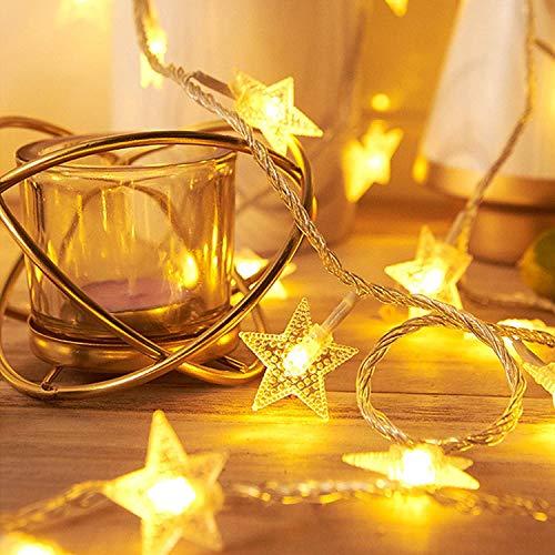 Ibello Guirnaldas Luces Guirnaldas de Estrellas, 20 led 2,8m Alimentado por Bactería Decoración para Hogar, Salón, Cuarto, Puerta, Calle, Navidad, Todos los Santos