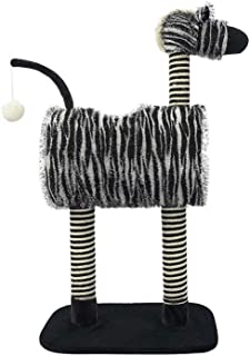 LKDS Cat Tree, Zebra Style Cat House, Tunnel Design, Two-Color Sisal Grab Column, Pet Game Exercise Toys, Four Seasons Universal