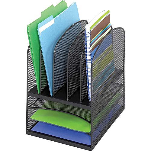 Safco Products Onyx Mesh 5 Sorter/3 Tray Desktop Organizer 3266BL