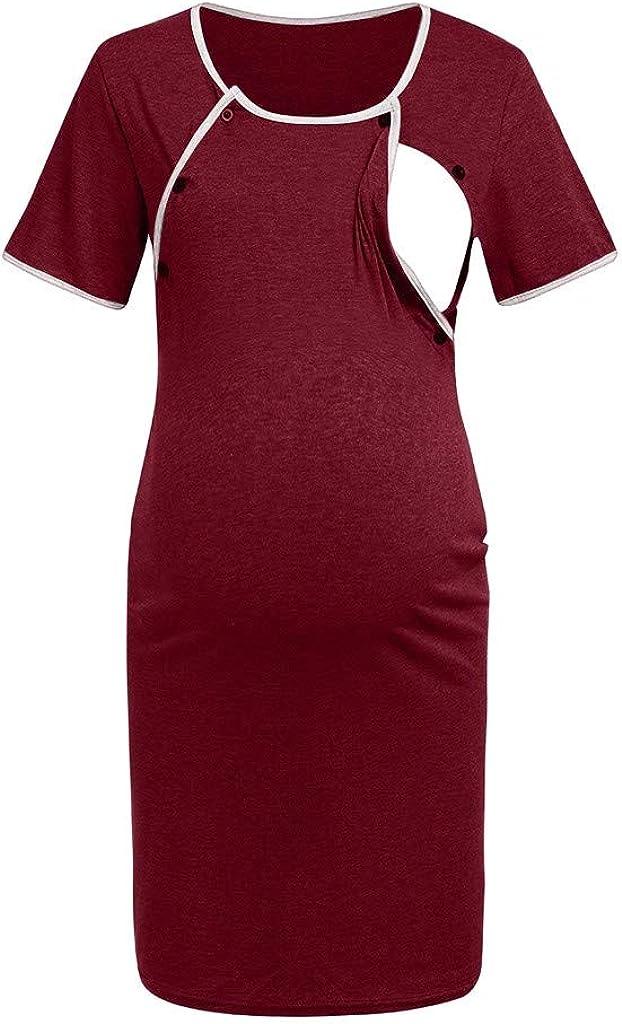 Conquro algod/ón Mujeres Embarazadas c/ómodas Lactancia posparto Cuidado Mujeres Embarazadas bot/ón de Manga Corta Cuidado Pijamas Madre Lactancia Vestido