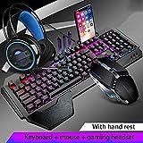 Teclado Mecánico Ratón Headset Kit con El Resto De Muñeca, Ajuste El Soporte, Y El Ratón del Juego Auriculares De Juego For El Ordenador Portátil PC Juegos (Color : B-Set)