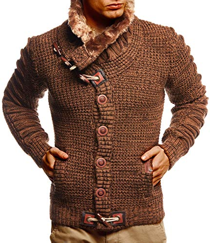 Leif Nelson Herren Strickjacke Männer Jacke Moderne Freizeitjacke Stylische Übergangsjacke Winterjacke LN5585 Large Camel