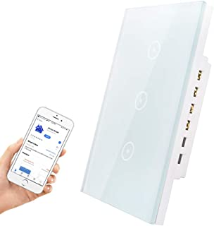 HHGAOKO Smart Light Switch,Touch Light Switch with LED Indicator,US Standard Wall Switch 3 Gang for 1 Gang Wall Box, Compatible with Alexa, Google Assistant,Jinvoo Smart (3 Gang Light Switch White)