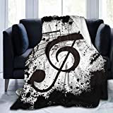 YISHOW Gunge Ink Style Music Notes Fleece Throw Blanket Plush Soft Throw for Bed Sofa, 80'X60'