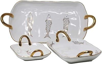 Amazon.com: A & B Home orlinda Platos de vidrio de 2 pisos ...
