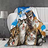 AMITAYUS Ultra Soft Light Weight Throw Blanket Cats Selfie Comfy Fluffy Quilt for Bed Couch Sofa Living Room Picnic Suitable All Seasons 50'X40' XS Twin for Kid
