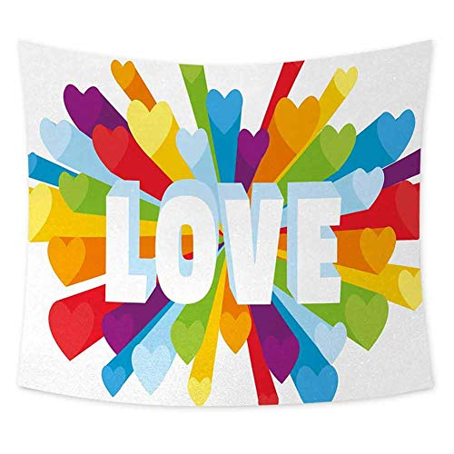 jecycleus Pride Cute Tapestry for Men Love Valentines Theme Burst with Cute Little Colorful Hearts Word LGBT Gay Lesbian Room Decor for Teen Girls W55 x L55 Inch Multicolor