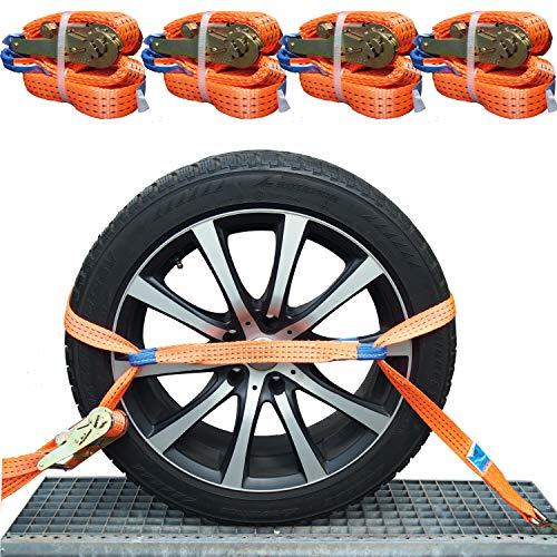 NTG 4X 35mm Spanngurt Auto Transport Zurrgurt Radsicherung PKW Reifengurt